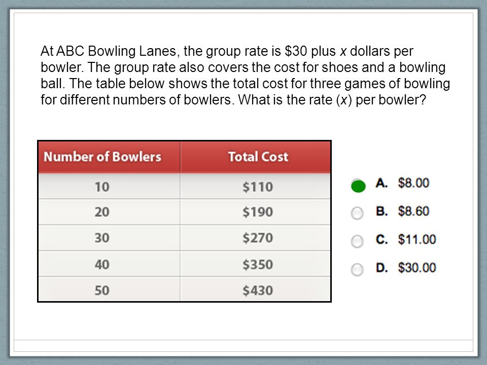 At ABC Bowling Lanes, the group rate is $30 plus x dollars per bowler