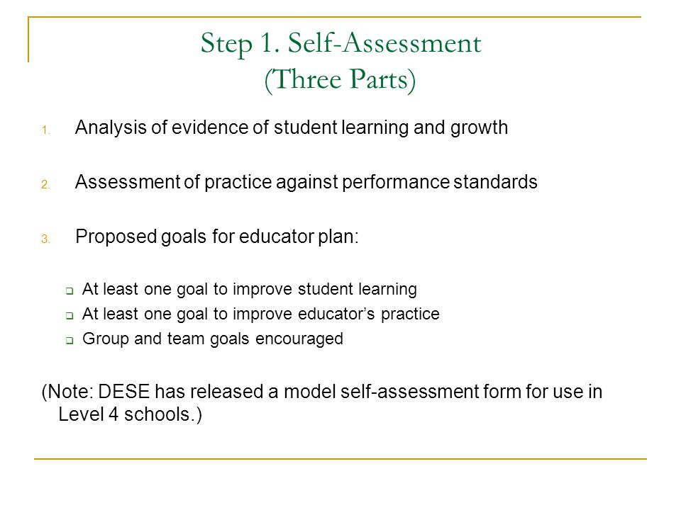 Step 1. Self-Assessment (Three Parts)