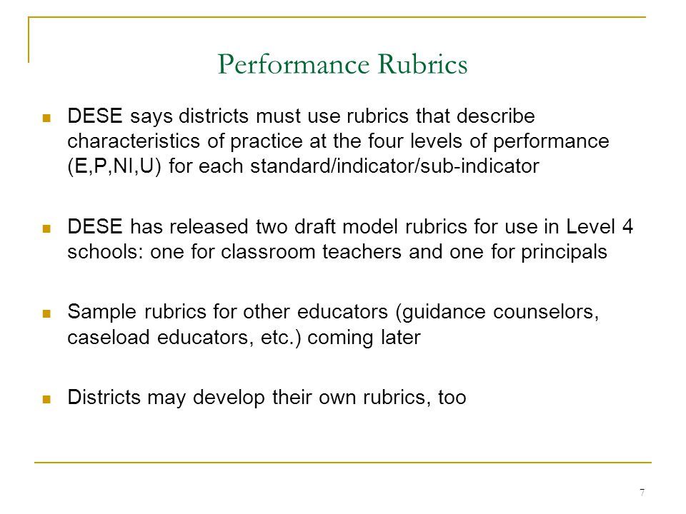 Performance Rubrics