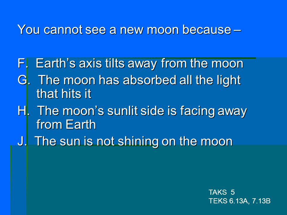 You cannot see a new moon because –