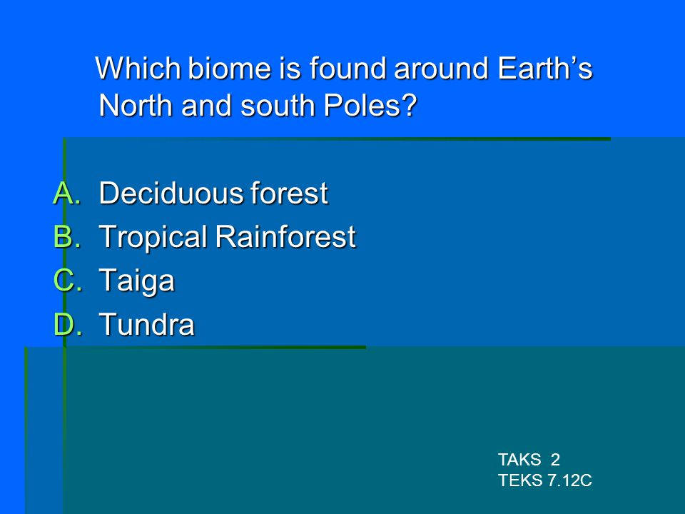 Which biome is found around Earth's North and south Poles