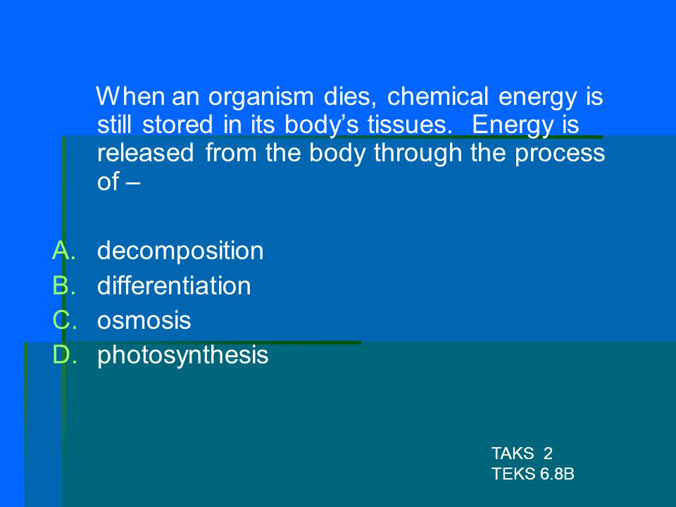 When an organism dies, chemical energy is still stored in its body's tissues. Energy is released from the body through the process of –
