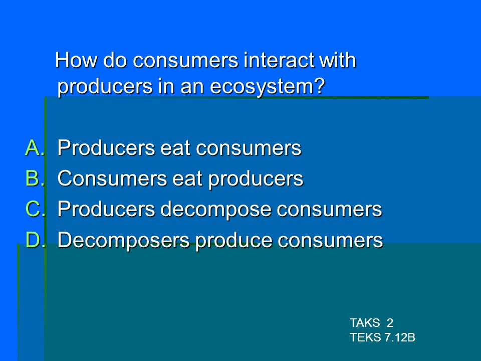 How do consumers interact with producers in an ecosystem