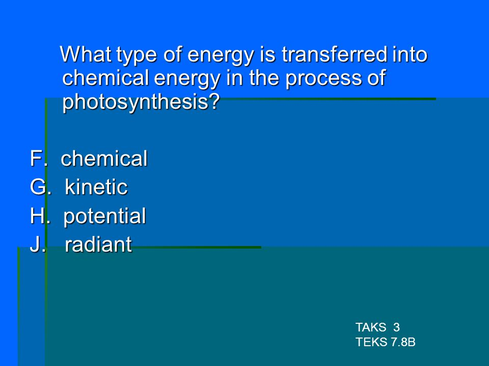 What type of energy is transferred into chemical energy in the process of photosynthesis