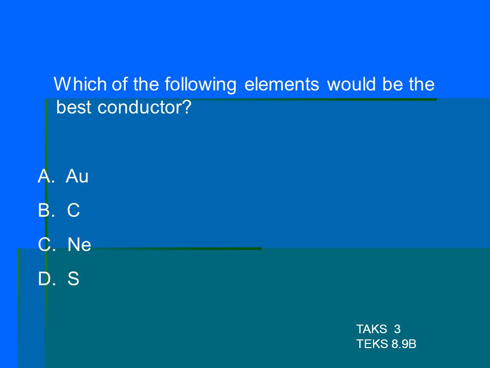 Which of the following elements would be the best conductor