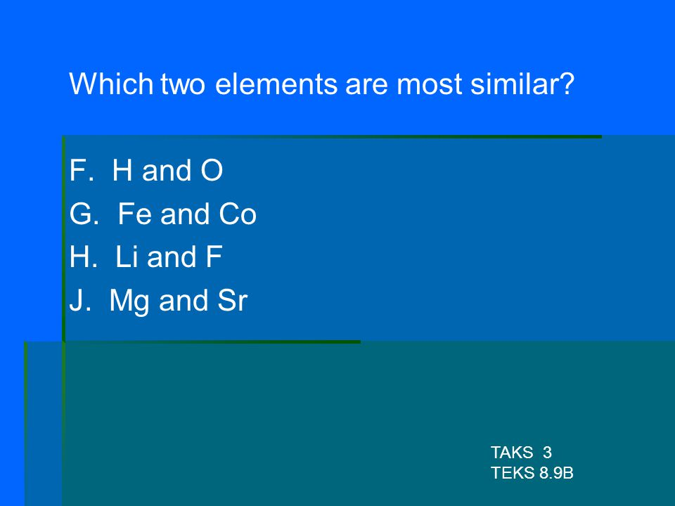 Which two elements are most similar F. H and O G. Fe and Co