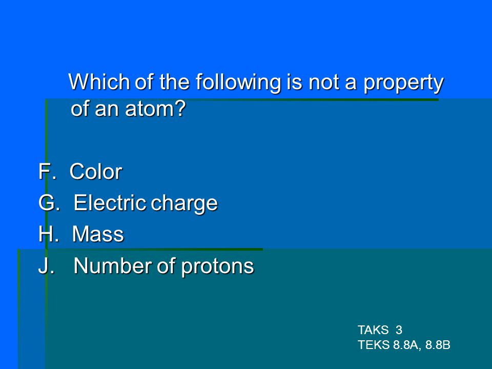 Which of the following is not a property of an atom