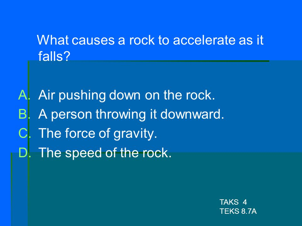 What causes a rock to accelerate as it falls