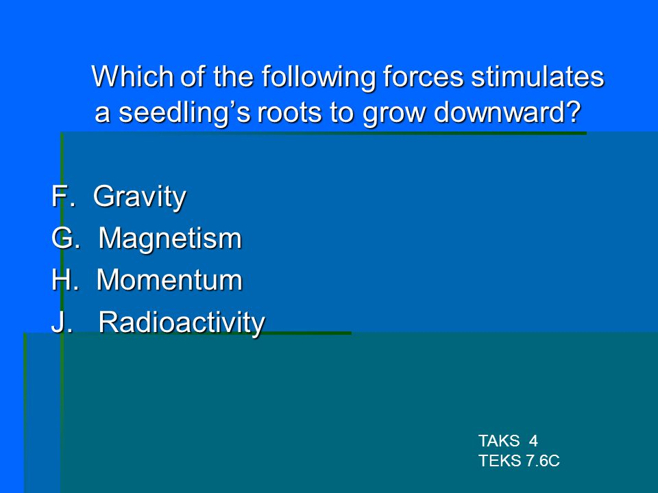 Which of the following forces stimulates a seedling's roots to grow downward