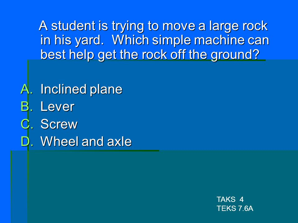 A student is trying to move a large rock in his yard