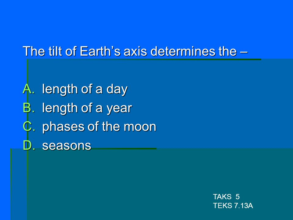 The tilt of Earth's axis determines the – length of a day