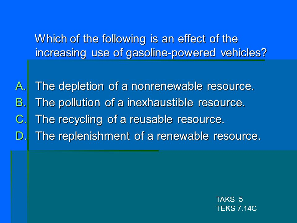 The depletion of a nonrenewable resource.