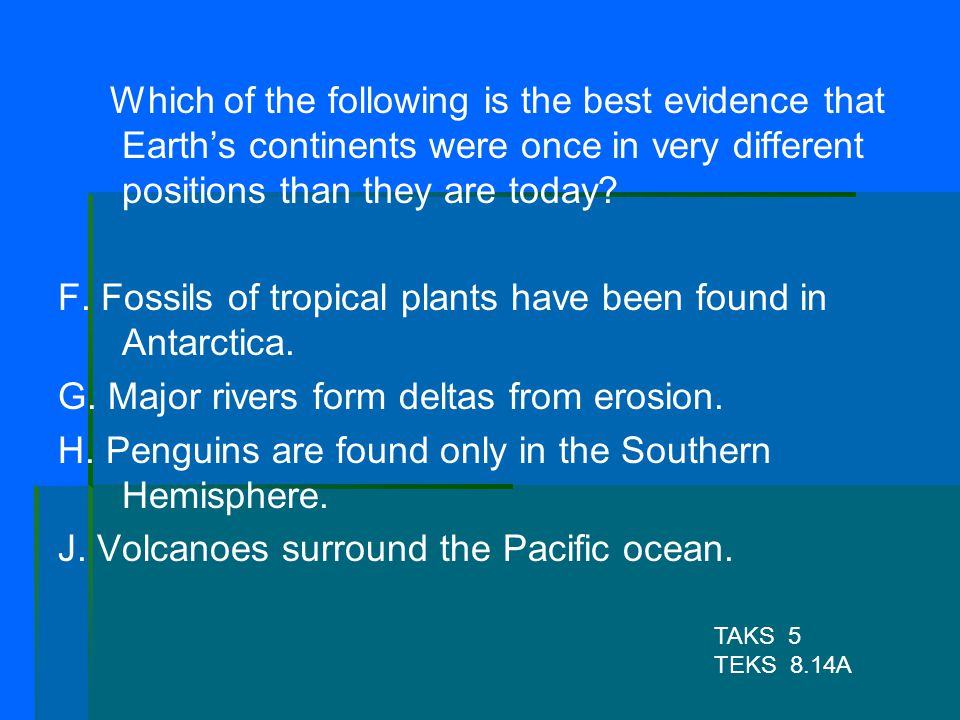 F. Fossils of tropical plants have been found in Antarctica.