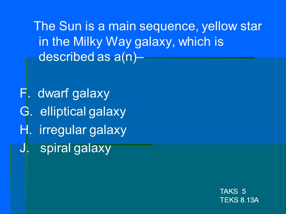 The Sun is a main sequence, yellow star in the Milky Way galaxy, which is described as a(n)–