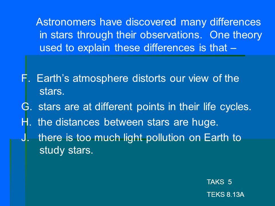 F. Earth's atmosphere distorts our view of the stars.