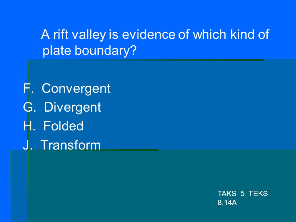 A rift valley is evidence of which kind of plate boundary