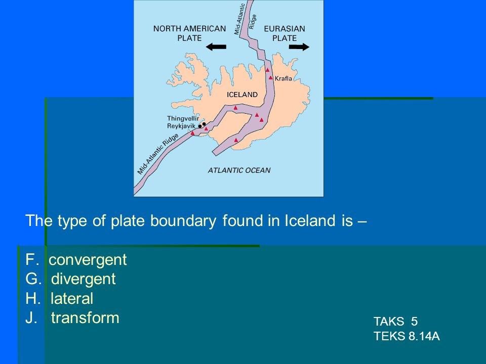 The type of plate boundary found in Iceland is – F. convergent G