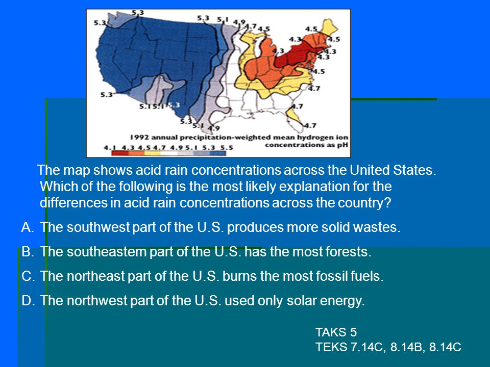The southwest part of the U.S. produces more solid wastes.
