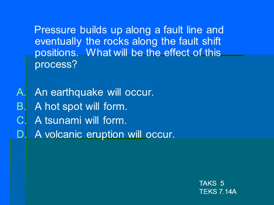 An earthquake will occur. A hot spot will form. A tsunami will form.