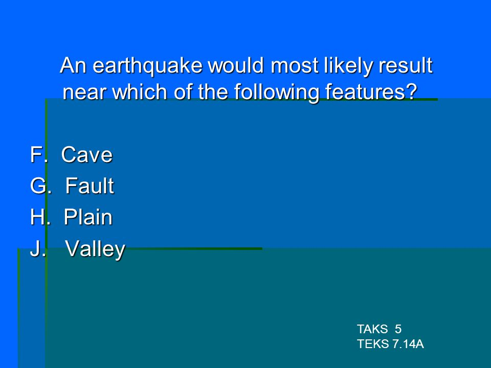 An earthquake would most likely result near which of the following features
