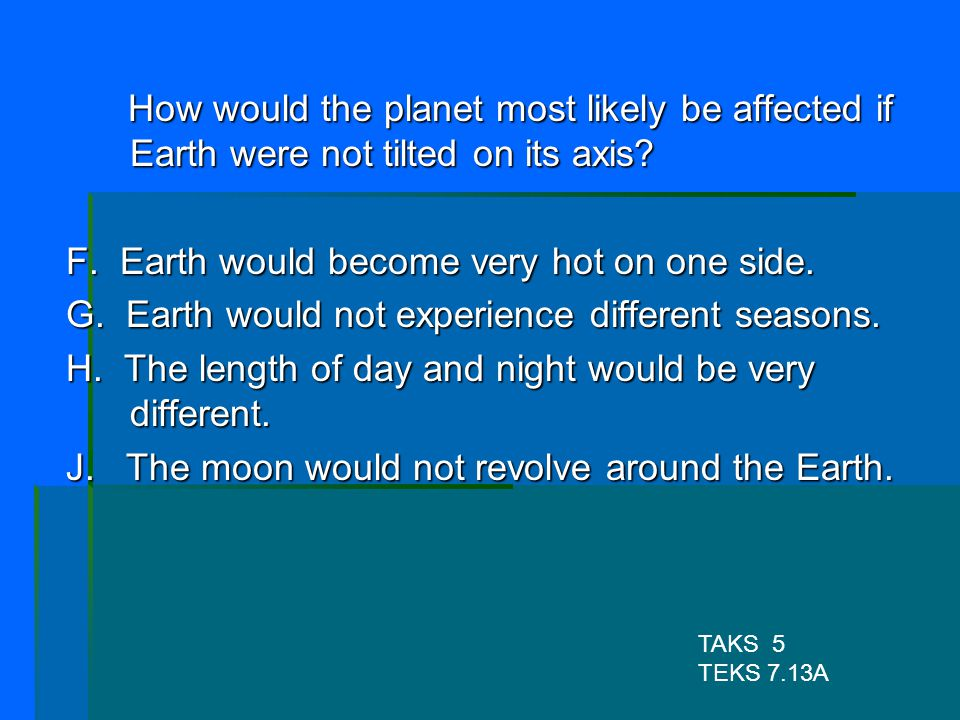 F. Earth would become very hot on one side.