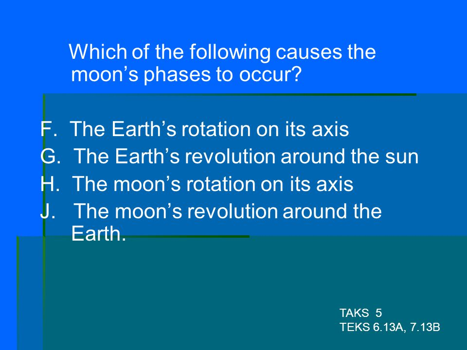 Which of the following causes the moon's phases to occur