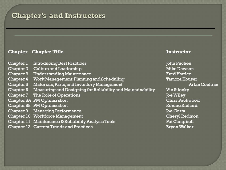 Chapter's and Instructors