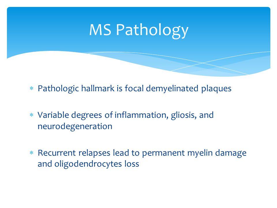 MS Pathology Pathologic hallmark is focal demyelinated plaques