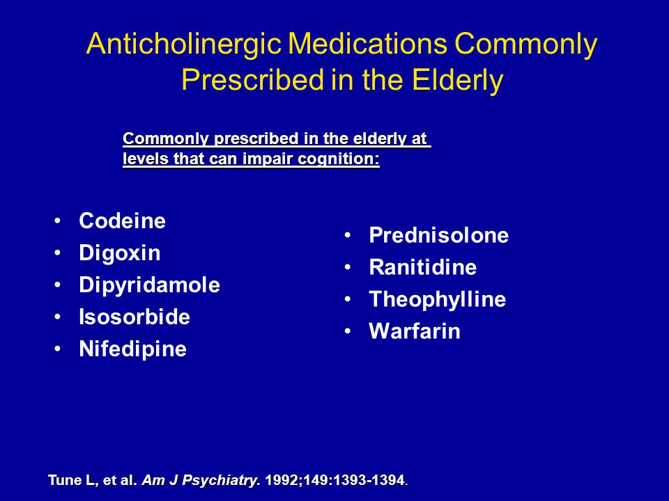 Anticholinergic Medications Commonly Prescribed in the Elderly