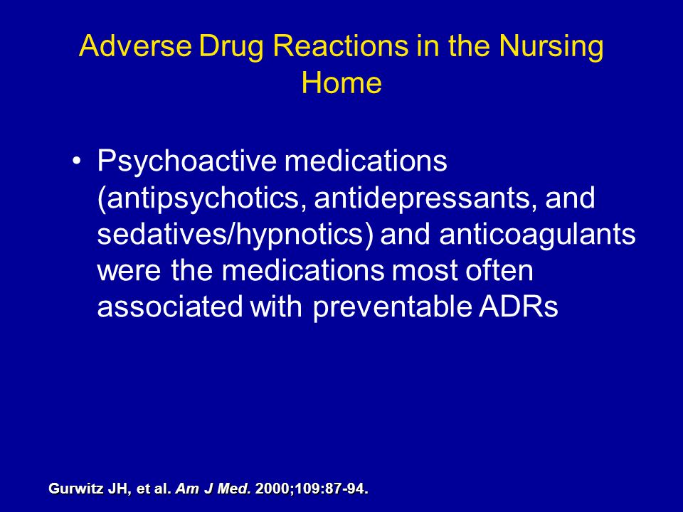 Adverse Drug Reactions in the Nursing Home