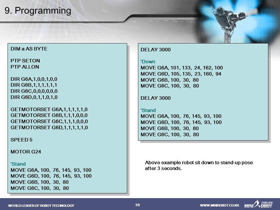9. Programming DIM a AS BYTE DELAY 3000 PTP SETON Down PTP ALLON
