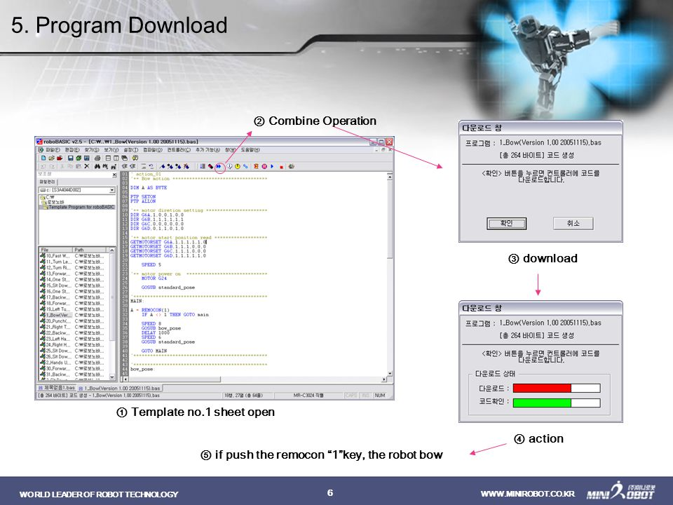 5. Program Download ② Combine Operation ③ download