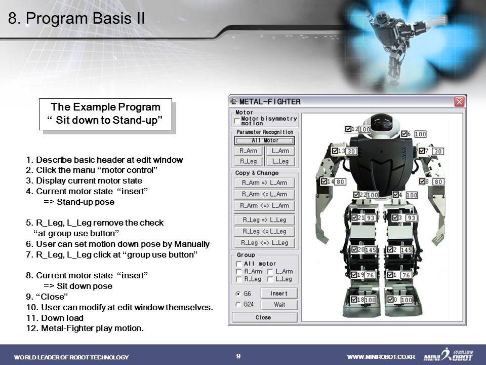8. Program Basis II The Example Program Sit down to Stand-up