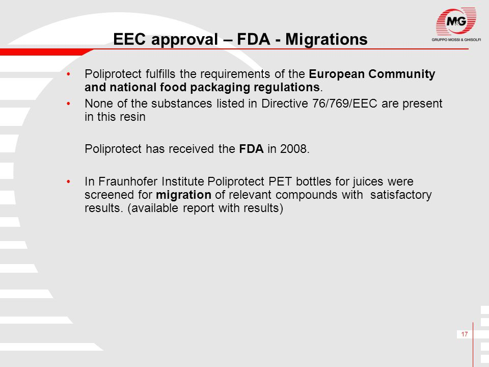 EEC approval – FDA - Migrations