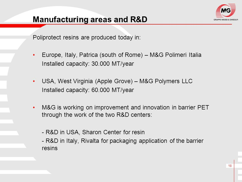 Manufacturing areas and R&D