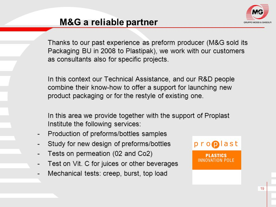 M&G a reliable partner