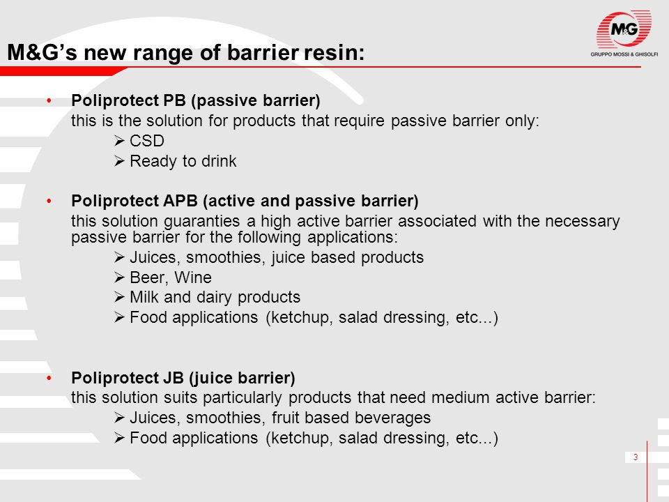 M&G's new range of barrier resin: