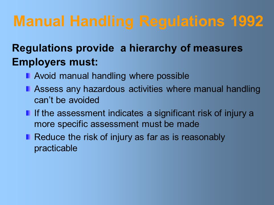 Manual Handling Regulations 1992
