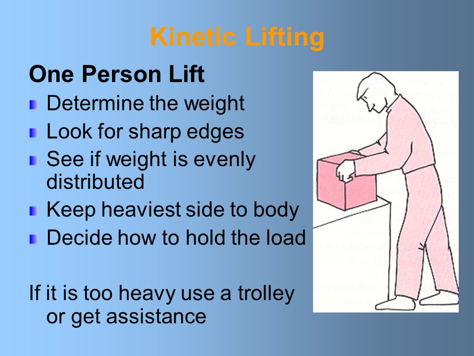 Kinetic Lifting One Person Lift Determine the weight