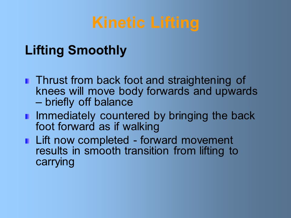 Kinetic Lifting Lifting Smoothly