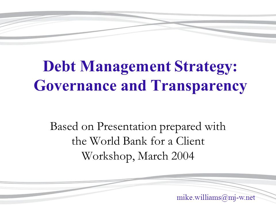 Debt Management Strategy: Governance and Transparency