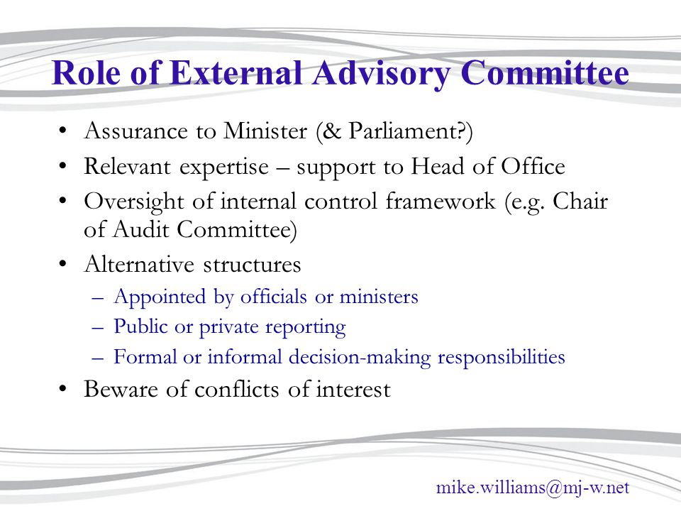 Role of External Advisory Committee