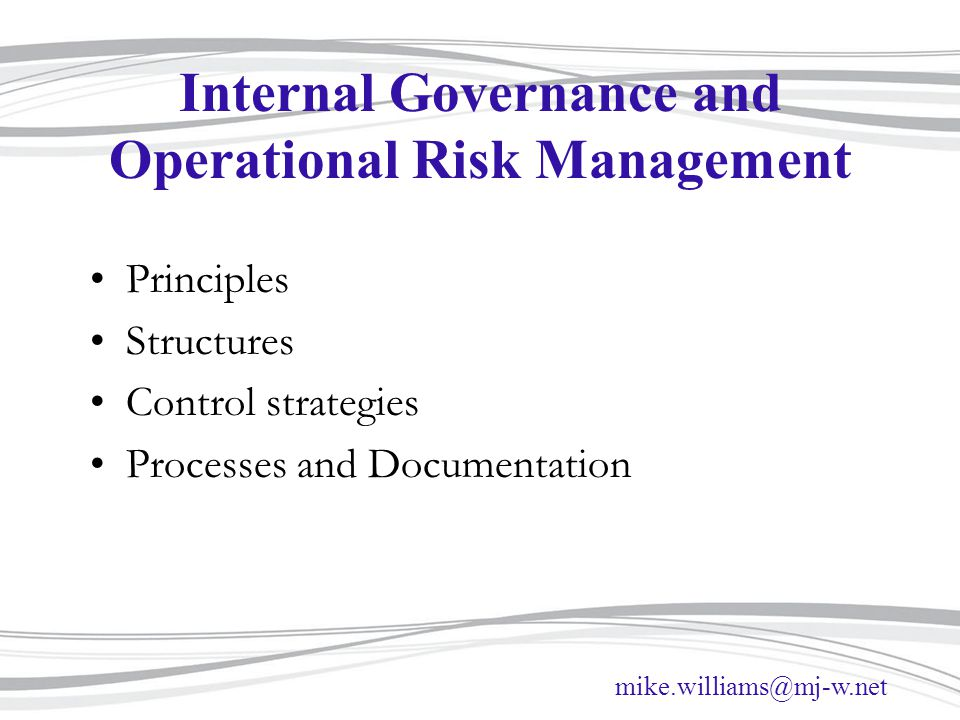 Internal Governance and Operational Risk Management