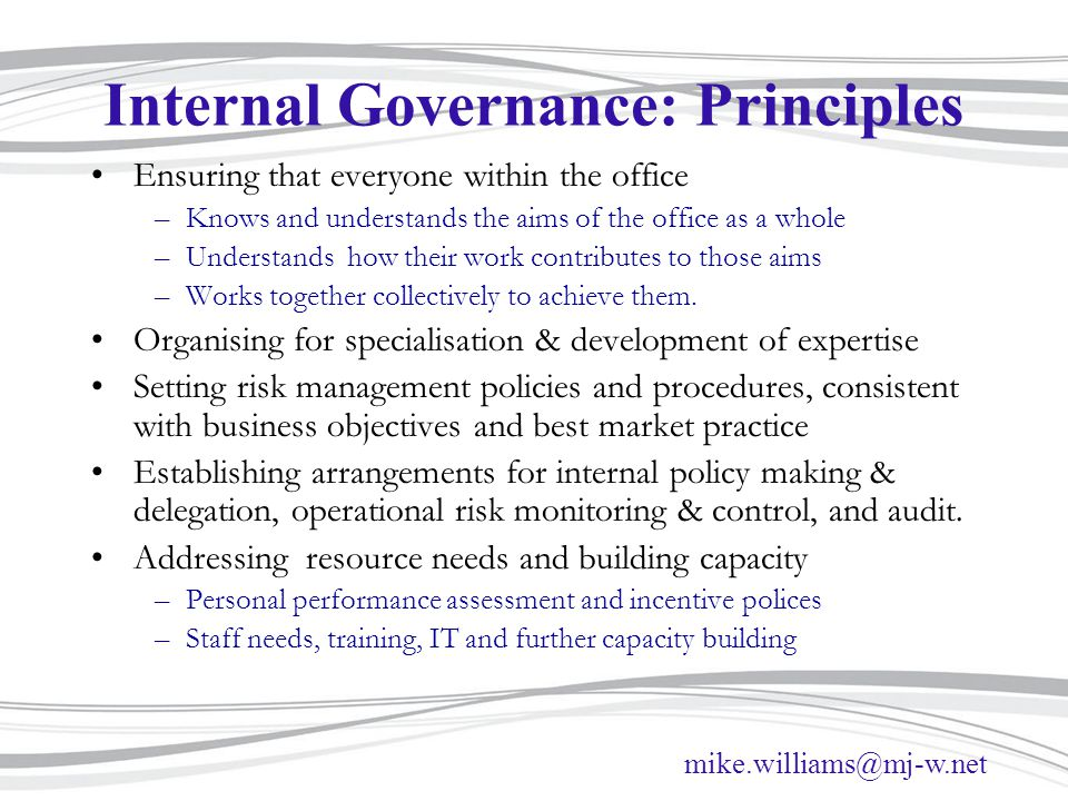 Internal Governance: Principles
