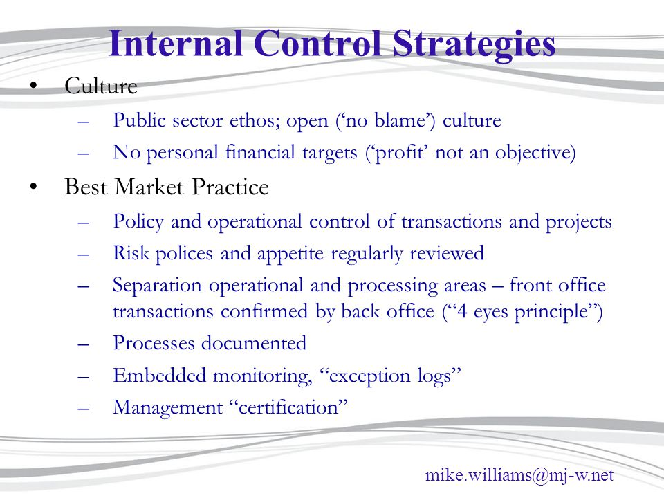 Internal Control Strategies