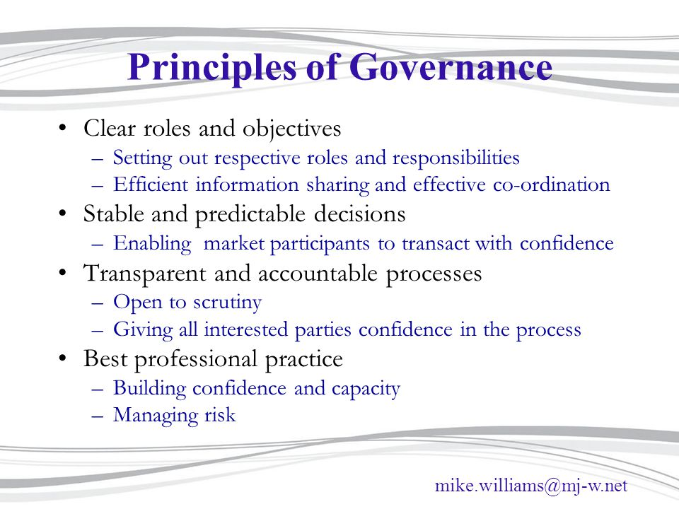 Principles of Governance