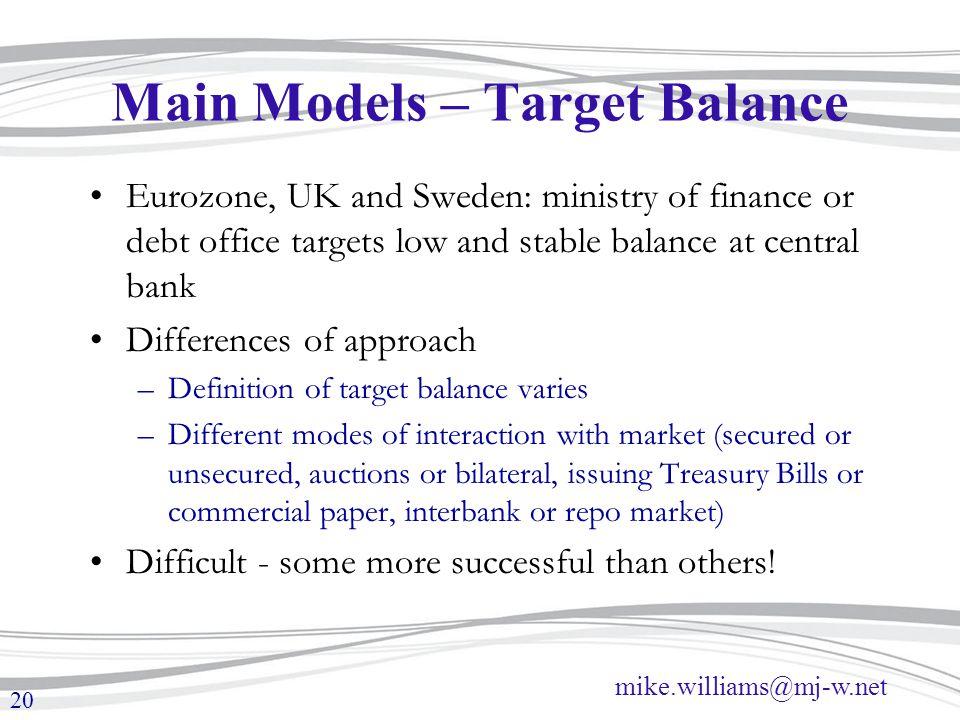 Main Models – Target Balance