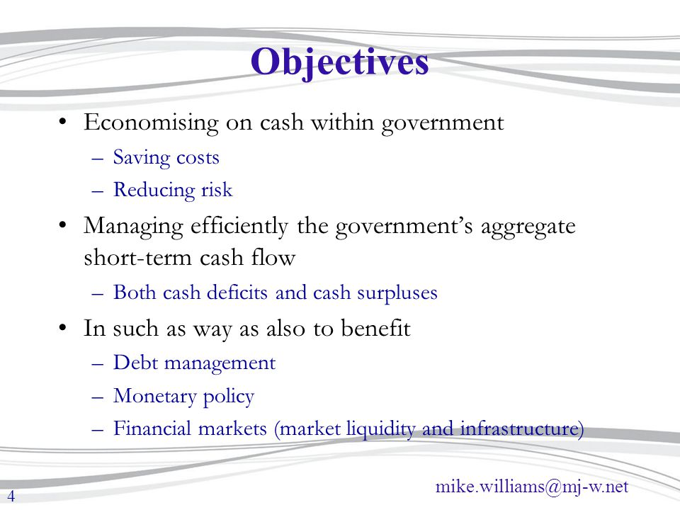 Objectives Economising on cash within government