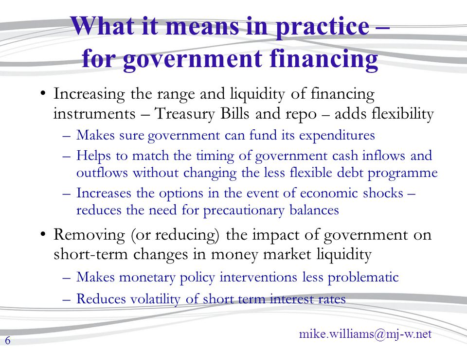 What it means in practice – for government financing