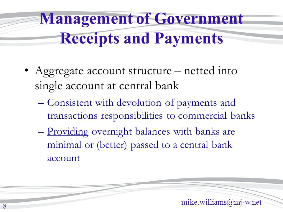 Management of Government Receipts and Payments